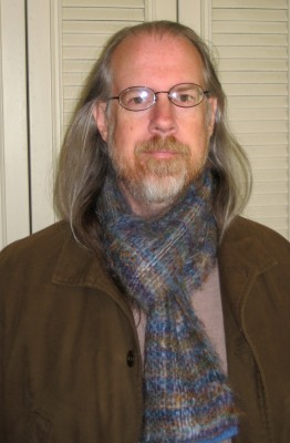 Me wearing the scarf I wove