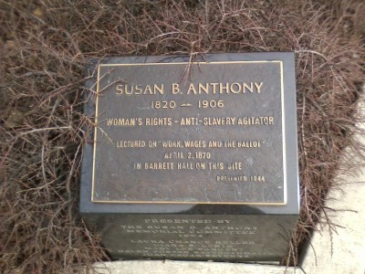 Plaque commemorating a lecture by Susan B. Anthony