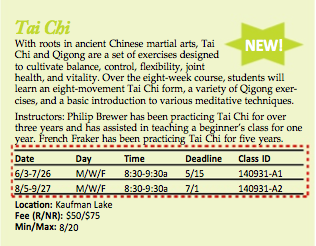 Screen grab of the Tai Chi course description.