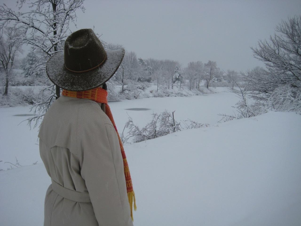 Jackie looks across the frozen lake
