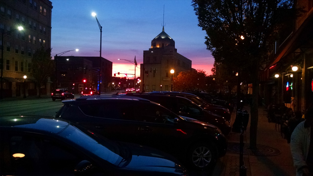 Downtown Champaign sunset
