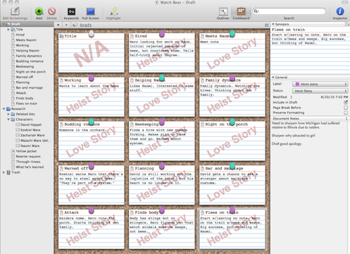 Screen capture of Scrivener corkboard