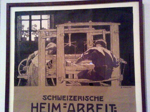 Poster detail showing loom setup