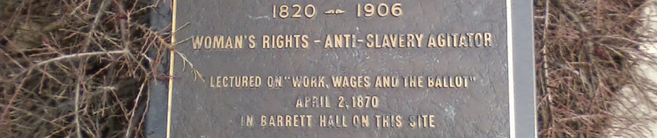 Plaque commemerating a lecture by Susan B. Anthony