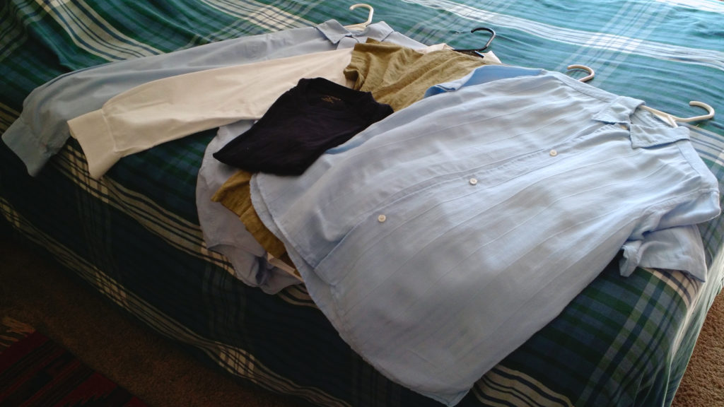 Five shirts from Goodwill at half the cost of one dress shirt from Lands End.