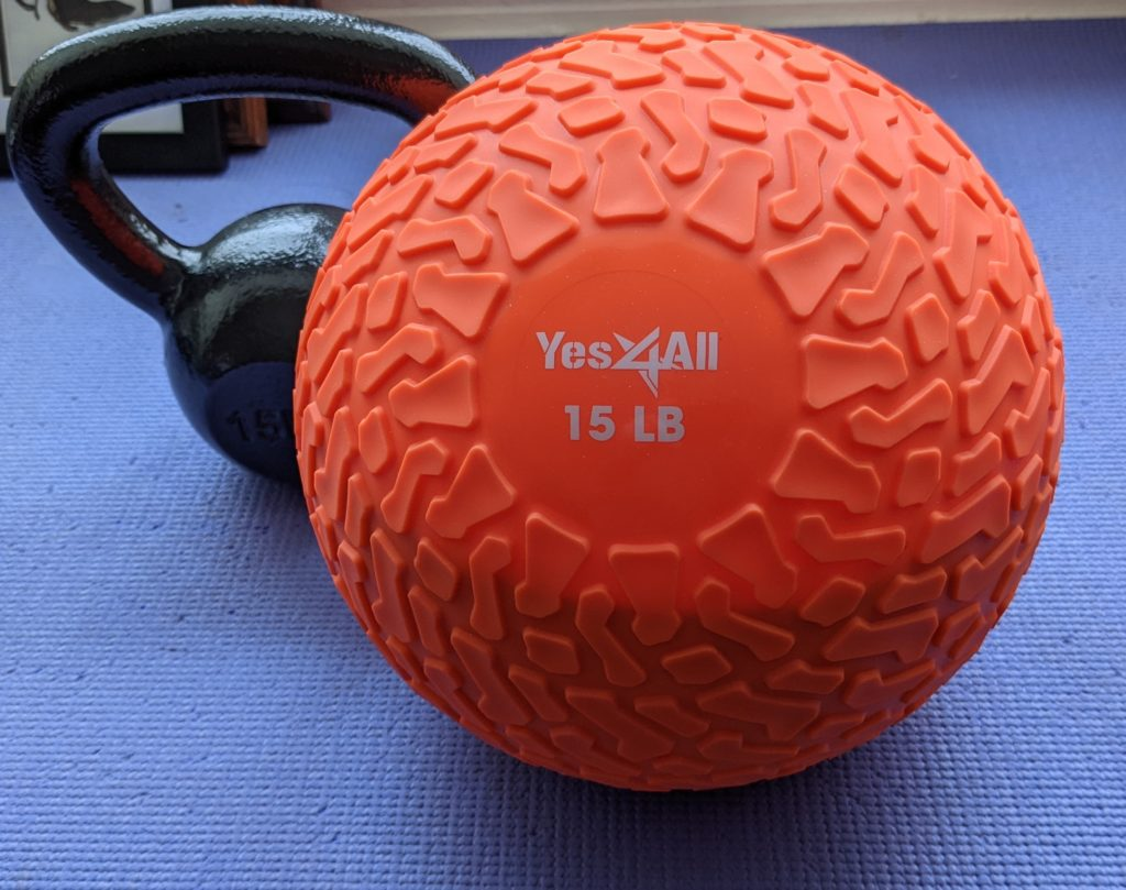 Slamball and kettlebell